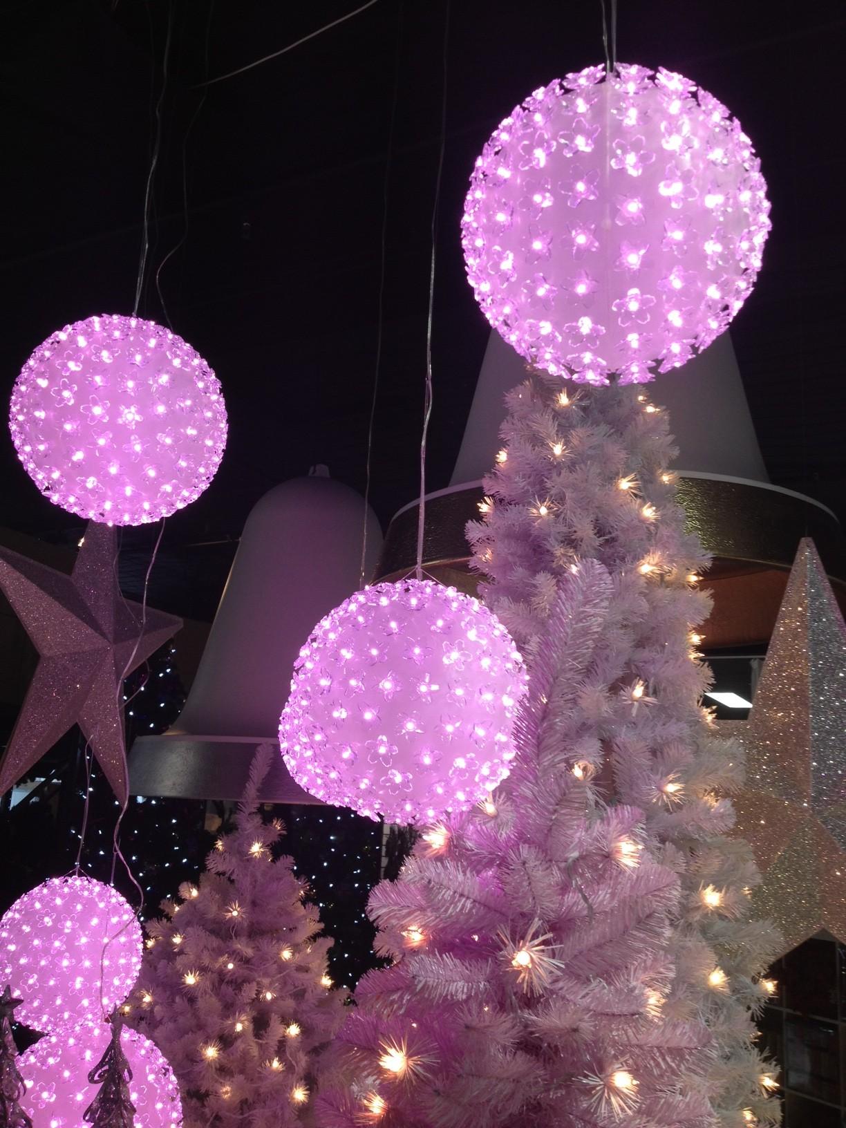 Pastel Pink lit Chrismas Tree, Pink illuminated hanging balls, large hanging stars
